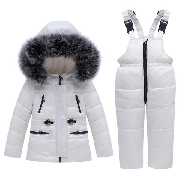Kid Garçon Fille Vêtements d'hiver Set 100% vers le bas Veste à capuche -30 degrés bébé Salopette Tenues Wear neige Vêtements tout-petits 2 3 4 5 Y
