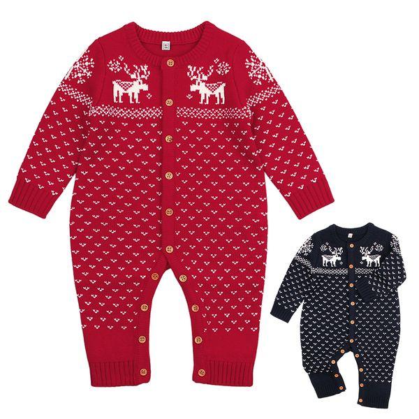 Christmas Knitted Baby Bodysuit Newborn Infant Toddler Hot Winter Body Child Kids for Boys Girls B0017 Body Suit Long Sleeve 2 Colors