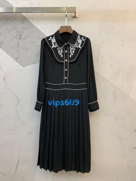 Haut de gamme femmes filles robes Tight Jupe femmes revers du cou bouton Vintage broderie florale Imprimer chemise à manches longues robe noire SMLXL