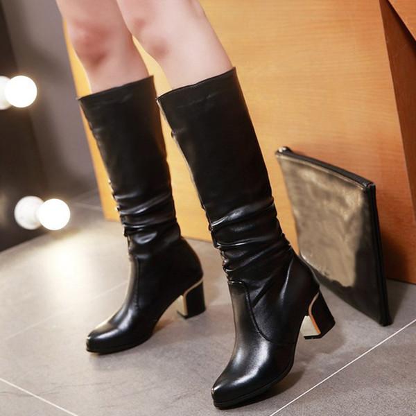 Caballero Botas de cuero de las mujeres de la PU atractiva del tacón alto del dedo del pie redondo hasta la rodilla con zapatos de los cargadores de la manera caliente de la nieve Botas Femme