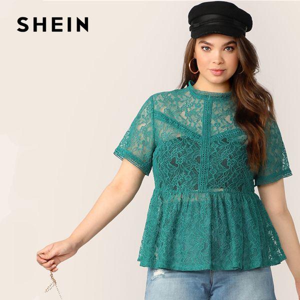 SHEIN Plus Size Zip Green Back Sheer Lace Overlay Peplum Top Blusa 2019 Mujeres Verano Elegante Ruffle Hem Stand Collar Blusas