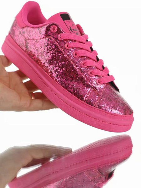Women Stan Skateboard Shoes For Sale Sequins Glitter Smith Girl Trainer Sports Sneaker Pink Skate Shoes