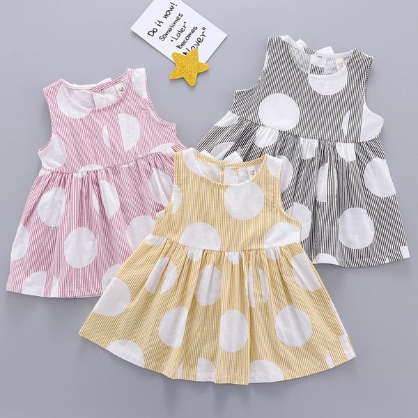 Fashsiualy Neugeborenes Baby Mädchen Sommer Kleid Kleidung Kleinkind Kind Baby Mädchen Ärmellos Gestreift Gedruckt Party Prinzessin Kleid Kleidung