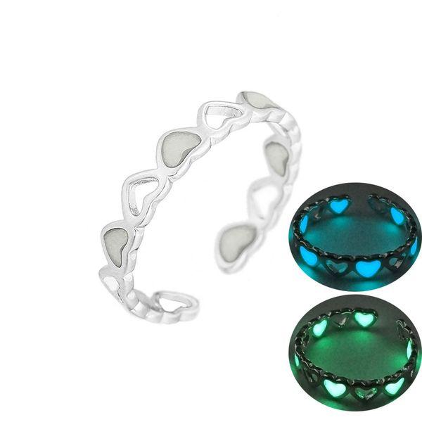 Nuevos Luminoso corazón del amor anillos abiertos para las mujeres que brilla en el regalo de la joyería del partido manera del anillo de dedo anular Oscuro