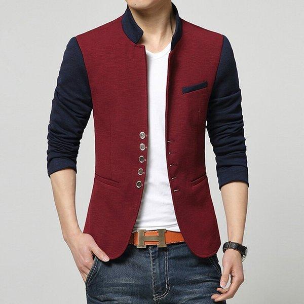 Spring Blazer Men Chinese Collar Suit Mens Summer Blazer Hommes Casual Jacket Fashion Patchwork Brand Clothing Veste Homme Plus Size M-3XL