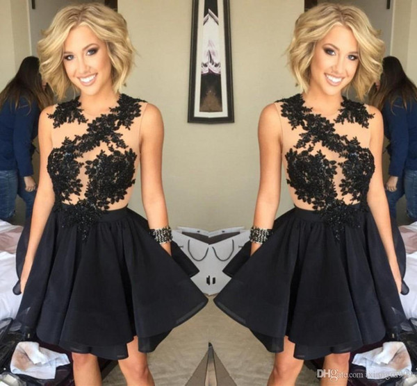 2017 Sexy Black Illusion Homecoming Dresses Appliqued Mini Short Chiffon Cocktail Gowns Custom Made Simple Cheap Prom Dress