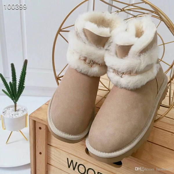 2019 designer shoes snow boots womens keep warm cashmere pashm fashion luxuty goods mosaic swarovski crystal