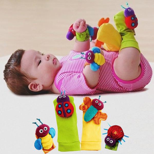 Kawaii Katı Renk Bebek Yenidoğan Eğitici Oyuncaklar Için Çorap Çorap Çıngıraklar Renkli Arı Ayak Bilek Çıngırak
