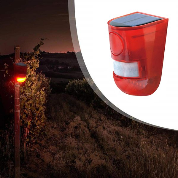 Solar Powered Sound Alarm Strobe Light Flashing 6LED Light Motion Sensor Security Alarm System Day Mode + Night Mode
