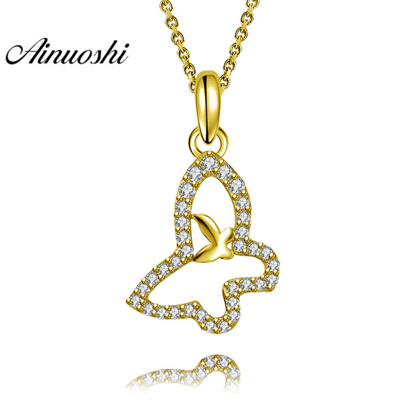 AINUOSHI 10 K Oro Amarillo Sólido Colgante Halo Mariposa Colgante SONA Diamante Mujeres Joyería de Oro Lindo Animal 1.5g Separado