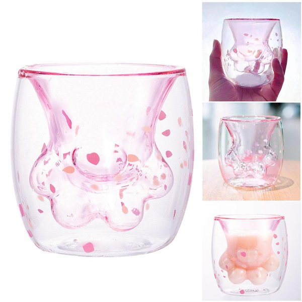 Cat Claw Paw Glass Cup Cute Flower Petal Transparent Coffee Mug Milk Tea Drink Cups Bar Drink Wine Glasses Kids Cup OOA6429