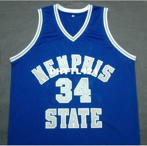 Men # 34 Elliot Perry Memphis Blue Blue State College Vintage jersey Tamanho S-4XL ou personalizado qualquer nome ou número de camisa