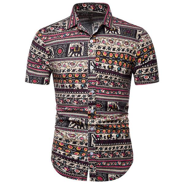 Erkekler Pantolon Takım Elbise ile Tops Keten Kısa Kollu Nefes Rahat Giyim Yaz Boyutu için Set M-5XL