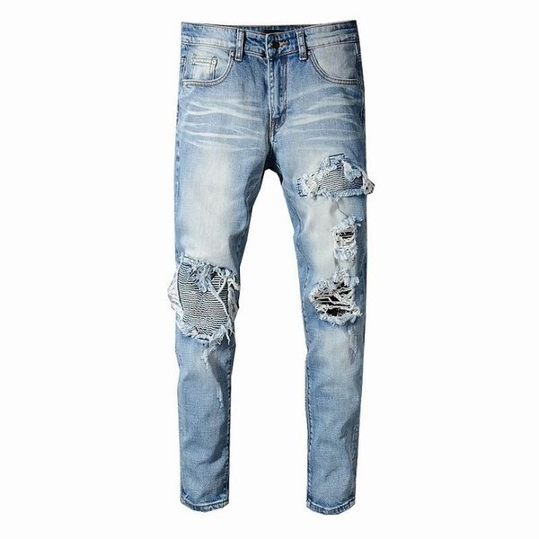 SS19 New model AI5 Arrive Skinny Water wash Motorcycle Jeans Desinger single cow thickened Slim paris quality plugs Men jeans