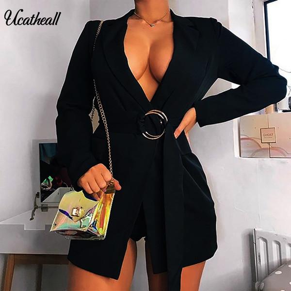 Moda Ince Blazers Kadın Sonbahar Takım Elbise Ceket Kadın Çalışma Ofisi Lady Suit Siyah Kemer Blazer Ceket Ile