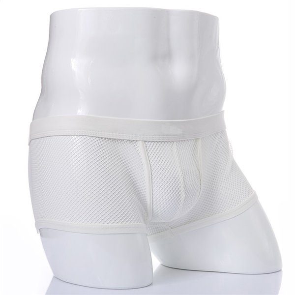 Men's Sexy Underwear Boxer Briefs Low Rise See-through Bulge Pouch Underpants Lingerie Boxer Shorts Hollow Out Mesh Male Panties Black White