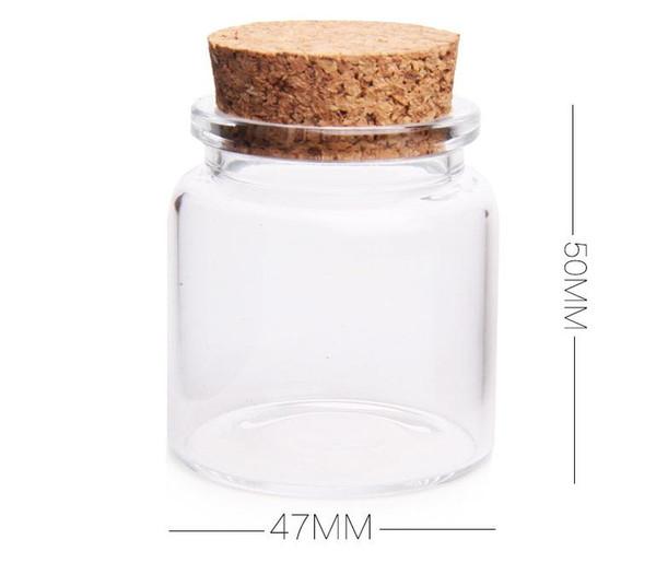 Pot en verre réutilisé de stockage de couvercle de liège de 50ml, petit pendant de fiole de bouteille en verre avec le liège SN2153