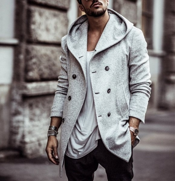 ZOGAA 2018 Mens Trench Coat Long Wool Overcoat Double-breasted Autumn Hooded Coat Men Windbreaker Casual Jacket Men Outwear