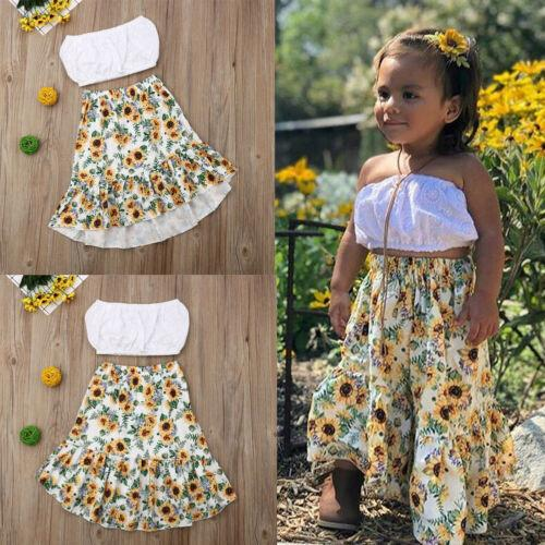 Yenidoğan Çocuklar Bebek Kız Katı Beyaz Mahsul Tops Sunfower Etek Kıyafetleri 2 adet Yaz Kızlar Giyim Seti