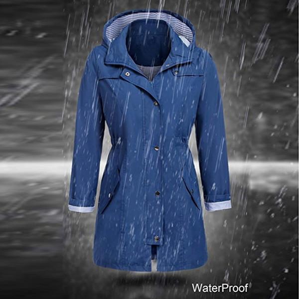 .Women's Solid Rain Jacket Outdoor Hoodie Waterproof Long Coat Overcoat Windproof Large size long warm hooded jacket 2019