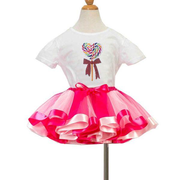 2019 neue Regenbogen Mädchen Anzüge Cartoon Geburtstagsfeier Mädchen Outfits Kinder Sommer Kleidung Mädchen Kleidung T-Shirt + Tutu Röcke Kinder Sets A5560