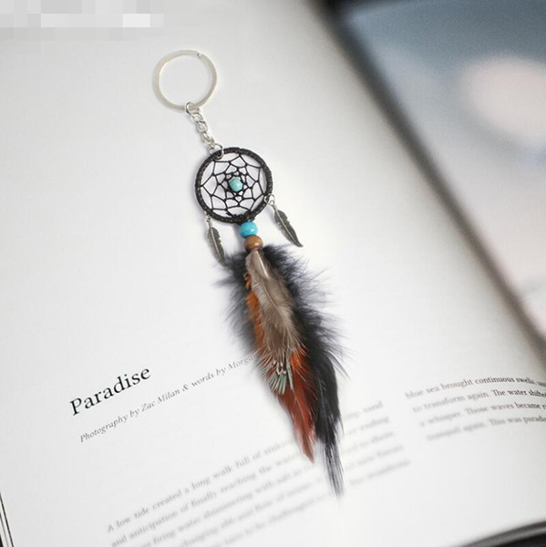 top popular 2018 Mini Dreamcatcher Keychain Car Hanging Handmade Vintage Enchanted Forest Dream Catcher Net With Feather Decoration Ornament LX7354 2021