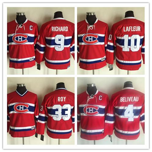 High Quality Montreal Canadiens 4 Jean Beliveau CCM Throwback 9 Maurice Richard Youth 10 Guy Lafleur 33 Patrick Roy Ice Hockey Jersey