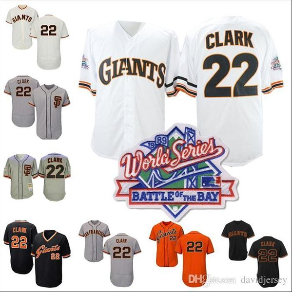 free shipping e721e 2a422 2019 Will Clark Jersey MN Giants Cooperstown 1989 WS World Series Cream  White Black Orange Home Away All Stitched From Davidjersey, $16.26   ...