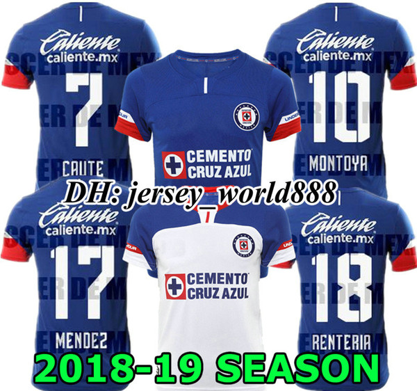 e29a5167500 2019 CAUTE CARAGLIO 18 19 CRUZ AZUL Jersey Soccer Home Blue MONTOYA Mexico  Club CRUZ AZUL Away White Football Shirt 2018 2019 HERNANDEZ From ...