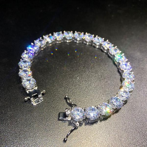 Braccialetti di tennis del diamante di Iced Out Braccialetti di oro di alta qualità dei braccialetti di Hip Hop dell'argento dei monili dell'oro di 8mm