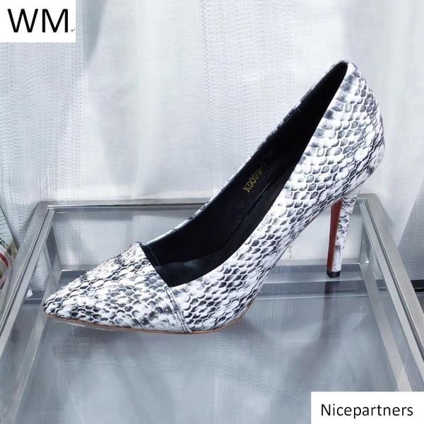 Duping520 Nuovo serpente sexy inferiori rossi a punta Tacchi alti alti talloni delle donne pantofole dei sandali Mules diapositive pompa le scarpe da ginnastica Abito scarpe