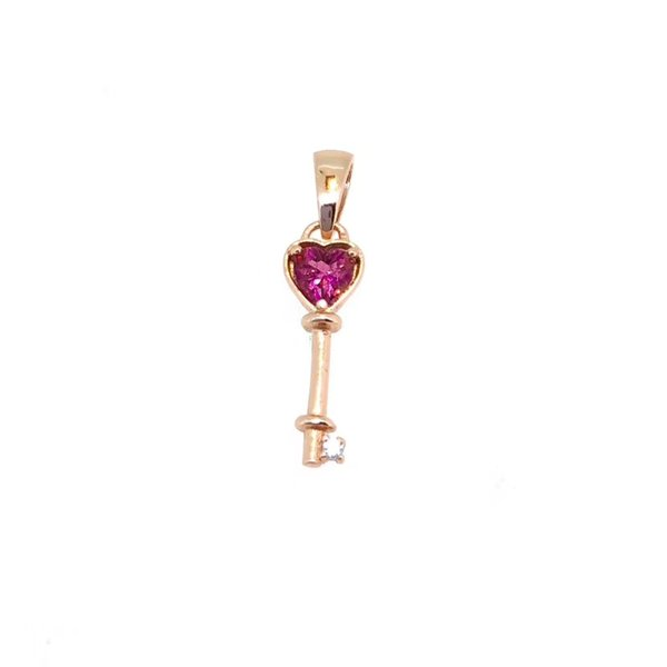 natural red tourmaline gem Pendant natural gemstone pendant S925 silver Fashion Small Lovely heart Key girl party gift jewelery