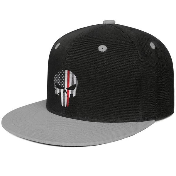 Bayan Erkek Düz Ayarlanabilir Punisher Kafatası Itfaiyeci Ince Kırmızı Çizgi Amerikan Bayrağı Hip-Hop Pamuk Kamyon Şoförü Şapka Kova Güneş Şapka Düz Üst Ha