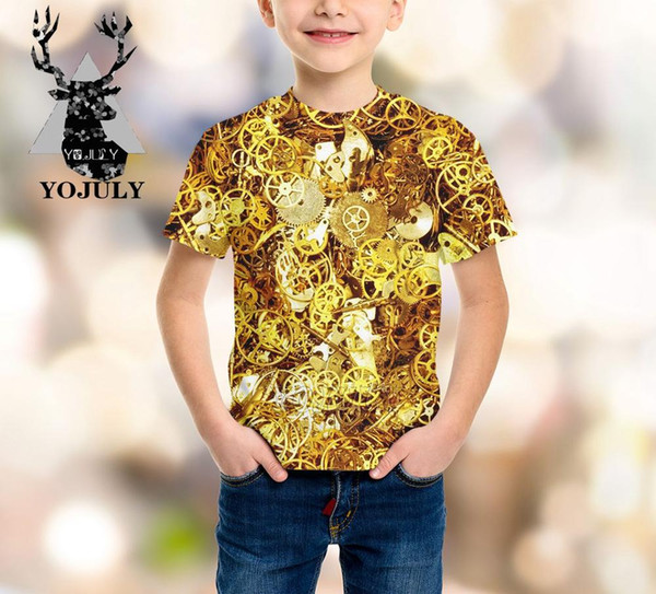 YOJULY New Mechanical watch baby boys girls teens 3D print kids clothes children's t shirt hot sale Fashion Top tees Modis A371