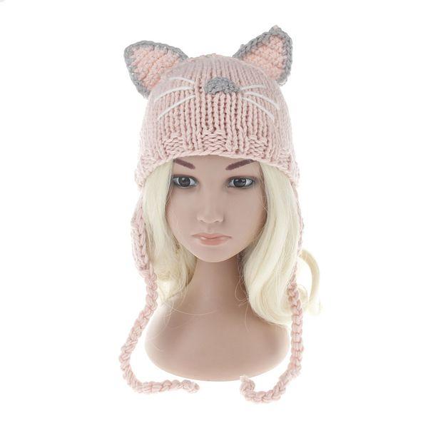 2017 Children Winter Hat Wool Knit Beanie Skullies for Girls and Boys Lovely Cat Ear Kids Hats Outdoor Warm Cap Pink black white