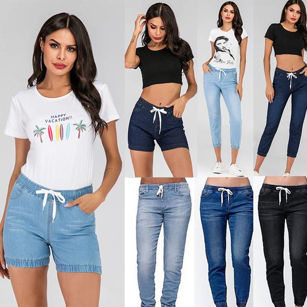 top popular women Jeans Blue Jeans Ladies Female Washed Denim Skinny Pencil Pants Leggings Shorts Street Wear will and sandy drop ship 2020
