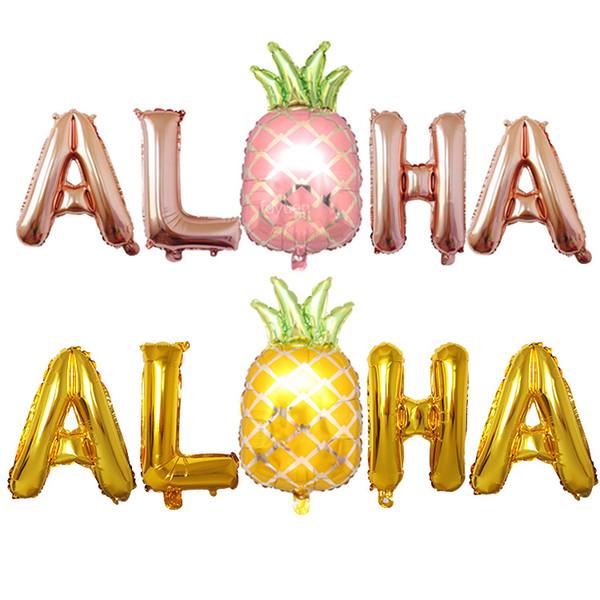 Hawaii Party Decorations Palloncini in lamina di ananas Aloha Party balloon Lettera Air Balls Pineapple Party Supplies Globos