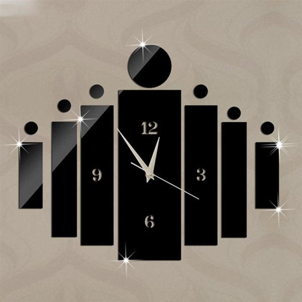Moda Reloj de pared Diseño moderno Arte Lujo Acrílico Sin tictac Reloj de cuarzo Reloj de bricolaje 3D extraíble Reloj de pared con espejo de cristal