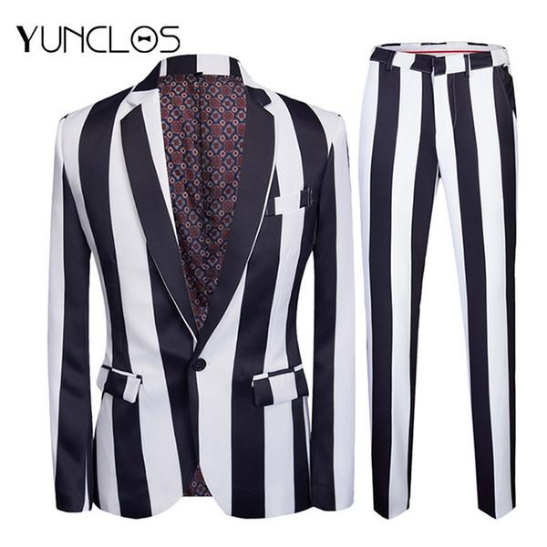 YUNCLOS 2019 New Strip uomo stampato abiti aderenti Slim Fit Party 2 pezzi Giacca Pantalone Prom Performance da uomo