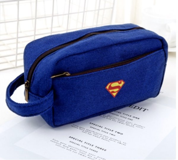 INS Creative canvas pencil bag large capacity simple multi-layer zipper stationery bag embroidered fabric pencil bag 333