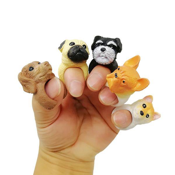 6pcs / lot Cartoon Bulldog Teddy Shar Pei Finger Puppets Chiens Anneaux Pastime Jouets Finger
