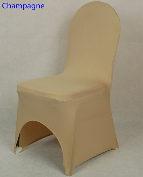 Champagne colour lycra universal chair cover for wedding decoration spandex chair cover on sale banquet chair arch front open