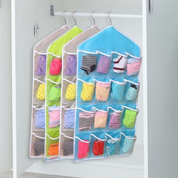 16 pockets hanging bag transparent organizer socks bra underwear wall rack multi-layer organizer storage bag hanger
