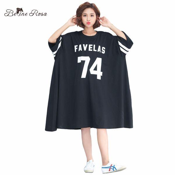 Belinerosa 2018 Women's Shirt Dresses Korean Baseball Style Casual Big Sizes Women Clothing Fit 3xl 4xl 5xl 6xl Tyw00726 J190513
