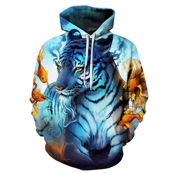 9 couleurs Hoodies animaux 3D hommes / femmes Sweat Lion Tiger Loup capuche Vêtements Survêtement Homme Manteau Veste à capuche Streetwear