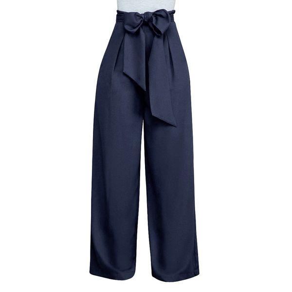 Womens Lace Up Calças de Cintura Alta Sólida Calças Soltas Moda Culottes Perna Larga