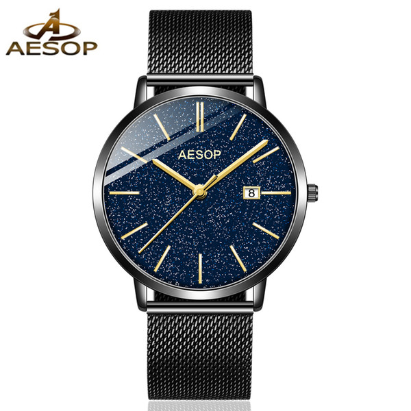 relogio masculino 2019 aesop brand stainless steel analog display date waterproof men's quartz watch business male wristwatches, Slivery;brown