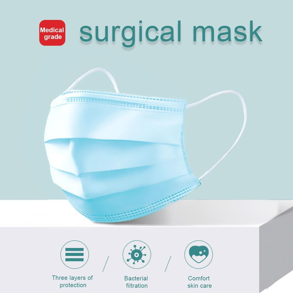 disposable face masks 3-layers non-woven mouth non woven anti-dust anti-bacterial earloops breathing safety masks individually packaged