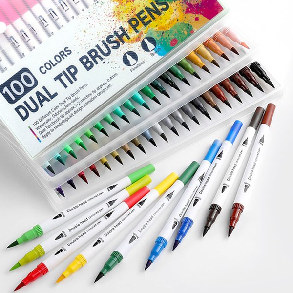 best selling 60 72 100 120PCS Dual Tip Brush Marker Pen Fine Liner Watercolor Art Markers For Coloring Drawing Painting sketching markers T200416