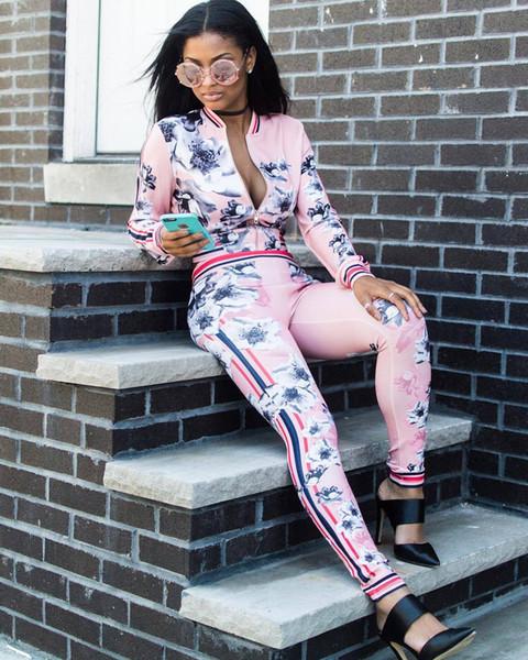 Rose / noir mince chaud long cardigan costume de sport femme hoodies ensembles fleur imprimé tops imprimer survêtement fermeture à glissière lâche jogging costume 50set hts169